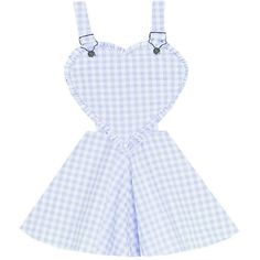 First Love Overalls Dress Bonne Chance Collections (€31) ❤ liked on Polyvore featuring dresses, skirts, overalls, blue, flared skirt, blue circle skirt, vintage gingham dress, blue skater skirt and vintage dresses