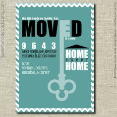 Business moving announcement note card word template publisher old key home sweet home teal chevron moving announcement card printable personalized moving announcement card flashek Choice Image