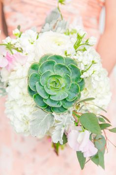 White hydrangea and succulent wedding bouquet: http://www.stylemepretty.com/2016/09/19/pastel-spring-wedding-at-lowndes-grove/ Photography: Dana Cubbage - http://danacubbageweddings.com/