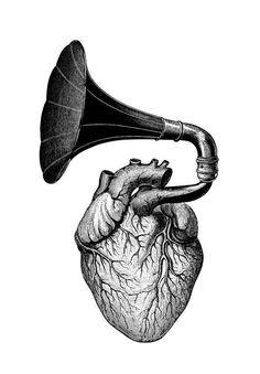 Gramophone heart  temporary tattoo