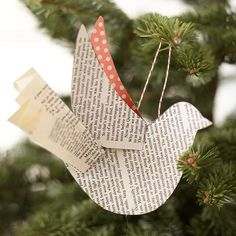 This DIY ornament is so easy to make, you can have a flock of birds on the tree in no time! Use our downloadable pattern and old book pages to create the pieces, then glue together and finish with a loop of string for hanging.