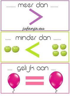 Verduidelijkende posters: meer dan/ gelijk aan/ minder dan - Juf Anja