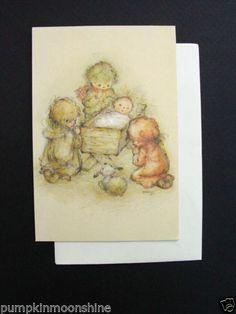 #F479- Vintage Unused Mary Hamilton Xmas Greeting Card Baby Jesus & Angels