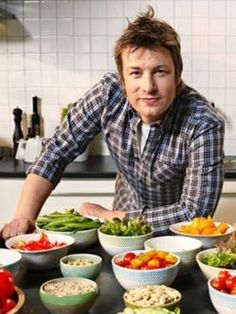 Jamie Oliver uses a lot of fresh veggies/fruits in his cooking and his techniques, British accent/slang, perky personality is most enjoyable though I may never find many of his ingredients in USA.
