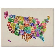 14 in. x 19 in. USA States Text Map - Purple Canvas Art