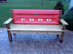 Orange 1970's Ford Tailgate Bench - Devin would LOVE this (perhaps a Dodge?)