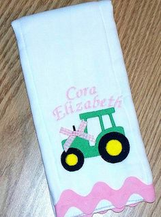 Tractor Baby Girl Burp Cloth in Pink - Personalized for Jordan & faith