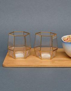 Root 7 – 2er-Set Gläser mit geometrischem Muster in Gold