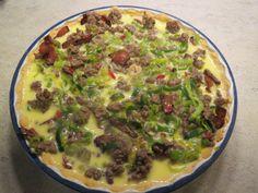 Pai med kjøttdeig og purreløk. Bruk den grønne delen av purreløken, eventuelt den grønne delen av vårløk for low fodmap.