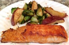 Maple Miso Glazed Salmon with Roasted Brussels Sprouts & Apples