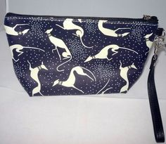 Navy Dot Greyhound Clutch Zipper Bag with Greyhound Charm, Wrist Strap
