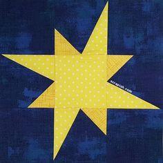 Galaxy Star Quilt Block Variation Pattern Tutorial - An Uneven Star Patchwork Quilt Patterns, Barn Quilt Patterns, Pattern Blocks, Star Quilt Blocks, Star Quilts, Quilting Designs, Quilting Projects, Camping Quilts, Baby