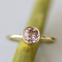 Pink Morganite In 14K Gold Ring  Ready To Ship by louisagallery, $380.00