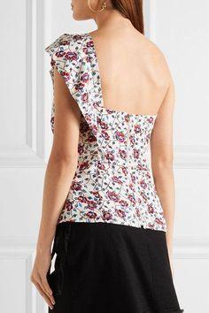 Isabel Marant - Rowina One-shoulder Printed Silk Top - Red - FR42