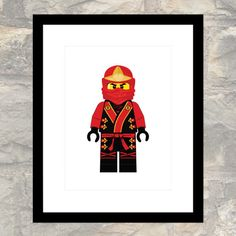 Red Ninja Kai in Elemental Robes - Child or Adult - Poster - Instant Download