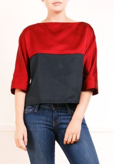Red and Navy Color Block Top