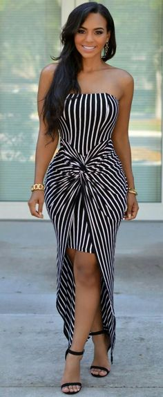 Pretty dress and flattering the way the designed the stripes
