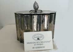 Silver Plate Jewelry Box Trinket,  Godinger 1991, Museum Recreation Antiques, box Hinged Half-Lid Unlined by GrandmasDowry on Etsy