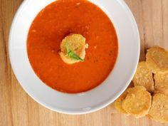 Tomato Soup With Parmesan Croutons Recipe : Ree Drummond : Food Network