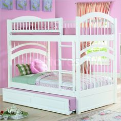 Windsor White Twin over Twin Bunk Bed with Trundle Bed - Atlantic Furniture