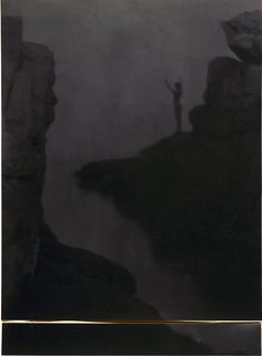 Boy in rocky landcape above water, arms raised, silhouette, by F. Holland Day 1905 | by Photo Tractatus