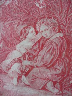 ANTIQUE FRENCH FABRIC rare toile de jouy by vintagefrenchstyle