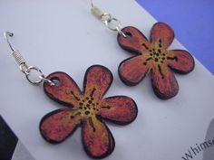 Shrink Plastic earrings, flowers - Fun Flowers