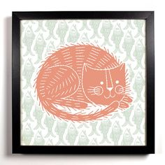 The Lazy Cat 8 x 8 Art Print Woodblock Hand Drawn Linocut Illustration Graphic Design. $9.99, via Etsy.