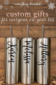 The Perfect Gift for Birthdays, Holidays, and More. We Personalize This Stainless Steel Thermal Bottle Tumbler with Any Name or Name & Title of Your Choice. We can Customize The Name on This Tumbler with Any of Our Vinyl Colors - Choose Her Favorite! Each Tumbler Comes with a Straw and Push Down Lid. These Stainless Bottles Keeps Drinks Cold for 24 Hours and Hot for 12 Hours.
