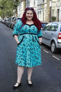 Lucky Black Cats: Voodoo Vixen Katniss Dress in Blue   It's been a little while since I have had somepinup repro on the blog but that 50s look is still my go to style and a couple of months back I picked up this gorgeous Katniss dress from Voodoo Vixen's Plus Size range Vixen Curve. With it's black cat print and three quarter sleeves I have just been waiting for the weather to change so I could wear it. Feels like autumnal perfection. And joy of joys this baby has pockets!  Voodoo Vixen…