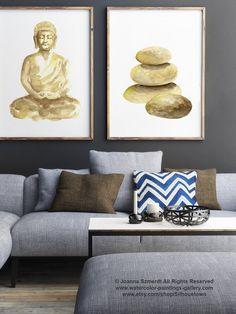 Set of 2 Buddha Watercolor Painting, Pebbles Zen Stones Art Print, Golden Home Decor, Yoga Poster, Meditation Art