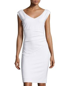 TCBF8 Diane von Furstenberg Bevin Cap-Sleeve Ruched Sheath Dress, White