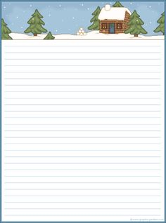 winter cabin stationery (for Christmas letters perhaps? Christmas Writing, Noel Christmas, Christmas Paper, Christmas Letters, Stationary Printable, Printable Lined Paper, Kids Background, Craft Images, Christmas Stationery