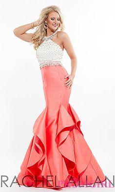 Open Back Long Mermaid Style Prom Dress by Rachel Allan at PromGirl.com