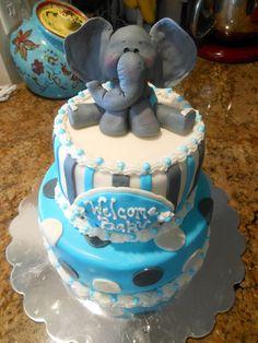 Best Elephant Baby Shower Cake boy