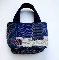 Indigo Totes Bag Line Stitched BagHand Stitched Totes