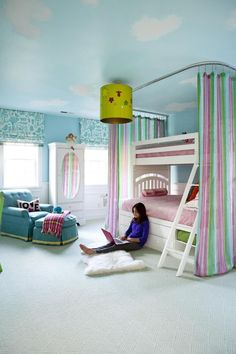 Lovely Children's Bunk Bed With Nice Color Striped Curtain Wall Bed Also Blue Lounge Chair Beside Shades Window And Blue Sky Ceiling Plus Chandelier 99 Children Bunk Bed ideas for Boys & Girls bedroom Dream Rooms, Dream Bedroom, Girls Bedroom, Bedroom Decor, Kid Bedrooms, Bed Rooms, Master Bedroom, Cute Bedroom Ideas, Awesome Bedrooms