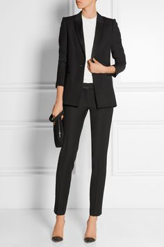 PALLAS Hermione satin-trimmed crepe blazer £1,080 and Aurore satin-trimmed crepe straight-leg pants £765 | ALEXANDER MCQUEEN jnitted top £620 | MCQ ALEXANDER MCQUEEN Teach textured-leather clutch £265 | GIANVITO ROSSI leather and PVC pumps £495