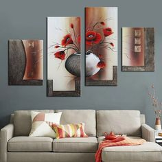 Handmade Oil Painting 4 Piece Group Oil Painting Red Flower in Pot Beautiful Abstract Decorative Picture for Hotel Home Office Colorful Wall Art, Modern Wall Art, Silouette Art, Living Room Designs, Living Room Decor, Art Decor, Decoration, Panel Art, Room Paint