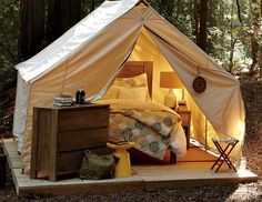 real bedroom in a tent on a wooden platform!