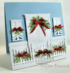 KC Impression Obsession Fence and window. Grand madison door Windows and doors ! Very pretty Xmas Cards, Holiday Cards, Handmade Christmas, Christmas Crafts, Impression Obsession Cards, Simple Birthday Cards, Window Cards, Stampin Up, Scrapbook Cards
