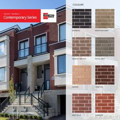 Contemporary Series is designed for today's elegant, chic architectural design. Todays' modern trends call for less pronounced textures, clean lines and a full color palette. Brampton Brick answers the call with the Contemporary Series. Brick Colors, Elegant Chic, Clean Lines, Exterior Design, Contemporary Design, Architecture Design, New Homes, Palette, Design Ideas