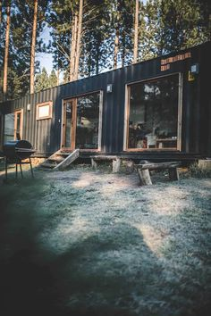 Shipping Container House Coyhaique, Chile - Living in a Container Shipping Container Cabin, Shipping Container Home Designs, Cargo Container Homes, Container House Design, Tiny House Design, Shipping Containers, Container Architecture, Container Buildings, Sustainable Architecture
