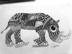 Zentangle, rhino