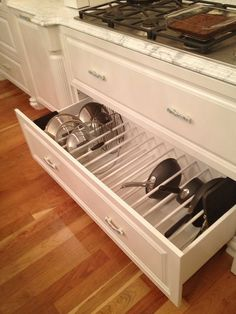 Better Kitchen Organization: File Your Pots and Pans In Drawers! - Better Kitchen Organization: File Your Pots and Pans In Drawers! Drawer Organizing ideas from The -