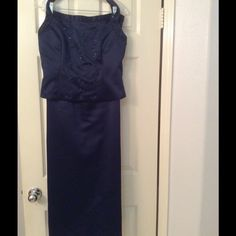 Pinky & Me Navy 2 pc Formal Set Satin vintage formal set, halter top with decorative bead design, full A-Lined skirt, 100% polyester, fully lined. Pinky & Me Dresses Maxi