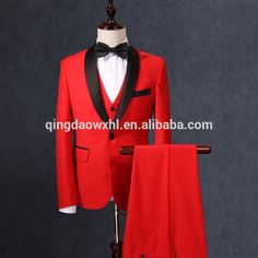 Top Quality Mens Slim Suits Set 3 Pieces Blazer+Vest+Pants Groom Wedding Suits For Men Dress Suit Red Free Shipping