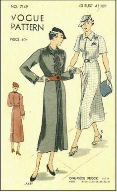 1930s Ladies One-Piece Frock Sewing Pattern - Vogue #7149