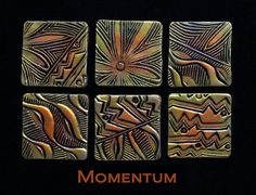 Tiles made using Helen Breil's  Momentum texture stamp.  For those of you who haven't tried these lovelies - You can run your clay thru the pasta machine on a medium setting (4 on my old Atlas), sandwich that sheet to the rubber, run it thru on #1 and you have perfect impressions to work with.  That is just the beginning.  ~ Polymer Clay Tutorials