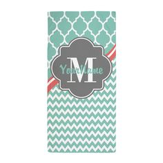 Gray and Aqua Chevron Custom Monogram Beach Towel